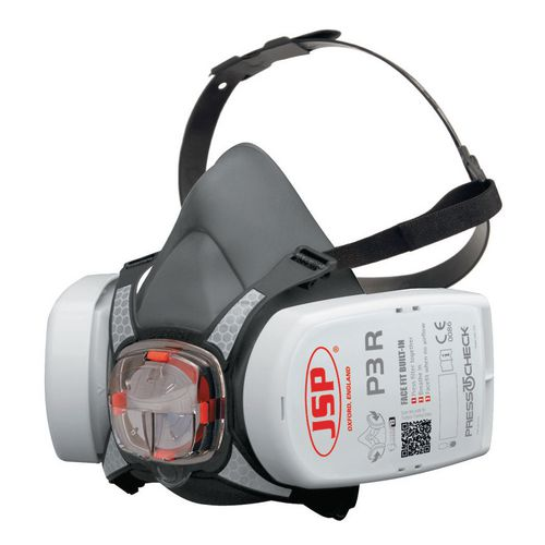 Respiratory Protection FORCE 8 TPE MASK c/w PRESS TO CHECK   P3 CONSTRUCTION DUST FILTERS READY FITTED