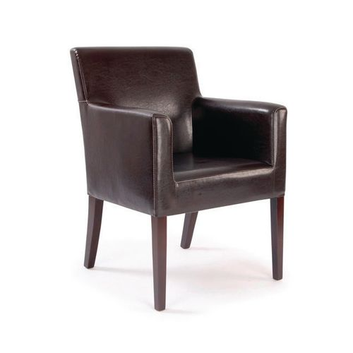 Reception Chairs METRO  - BROWN LEATHER EFFECT  CUBED ARMCHAIR, WITH WHITE STITCHING