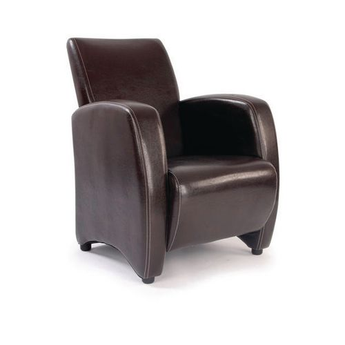 Reception Chairs METRO -BROWN LEATHEREFFECT  LOUNGE CHAIR