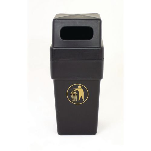 Rubbish Bins SPACESAVER2 HOODED RECYCLED BLACK PLASTIC  LITTER BIN 114 LITRES CAPACITY WITH GOLD TIDYMAN NO LINER