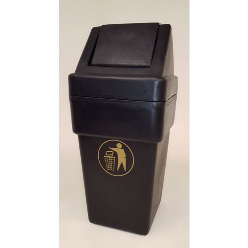 Rubbish Bins SPACESAVER1 HOODED RECYCLED BLACK PLASTIC LITTER BIN WITH SWING LID 114 LITRES CAPACITY WITH
