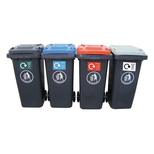 Rubbish Bins SET OF 4 x 120LTR WHEELED BIN RECYCLING CENTRE WITH COLOURED LIDS
