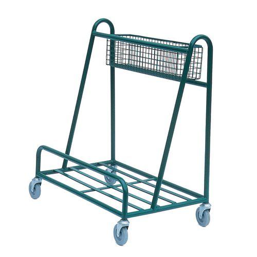 Open deck board trolley with basket