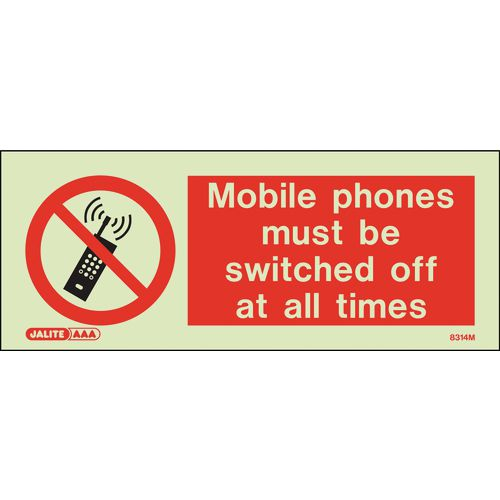 Warning MOBILE PHONES MUST BE SWITCHED OFF AT ALL TIMES 80x200mm - RIGID PLASTIC