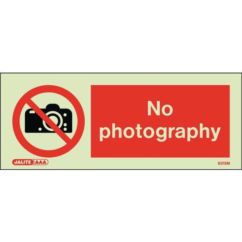 Warning NO PHOTOGRAPHY - 80x200mm - RIGID PLASTIC