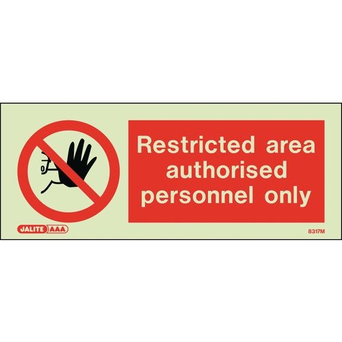 Warning RESTRICTED AREA AUTHORISED PERSONNEL ONLY 80x200mm - RIGID PLASTIC