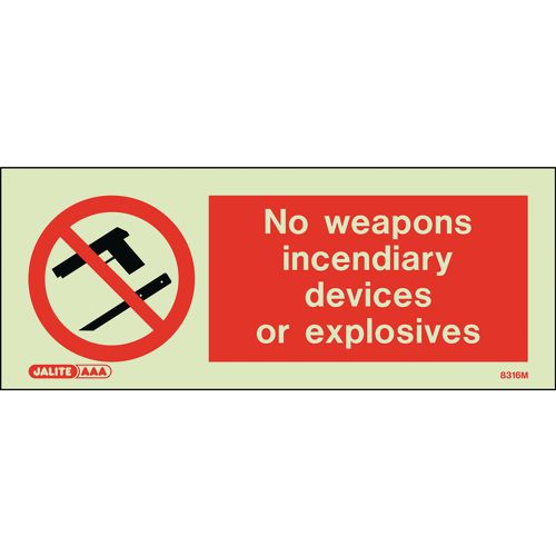 Warning NO WEAPONS INCENDIARY DEVICES OR EXPLOSIVES 80x200mm - RIGID PLASTIC