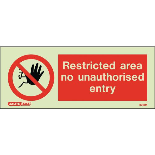 Warning RESTRICTED AREA NO UNAUTHORISED ENTRY 80x200mm - RIGID PLASTIC
