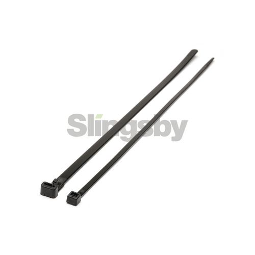 Black & white resealable plastic cable ties