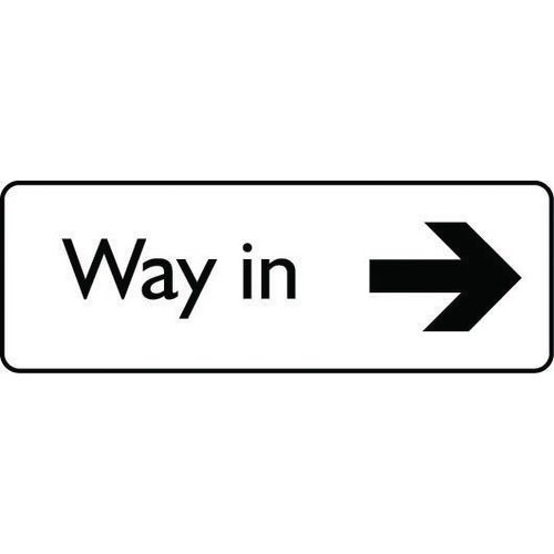 General car park signs - Way in arrow right - black text on white
