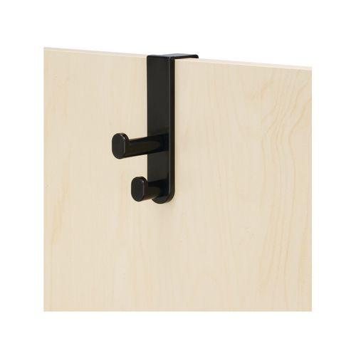 Wall Mounted PLASTIC COAT HOOK, OVER  THE DOOR DOUBLE, BLACK (BL), SET OF 6
