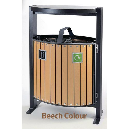 Rubbish Bins METAL TWO COMPARTMENT 39 LITRE  OUTDOOR BIN WITH PLASTIC WOOD EFFECT SLATS