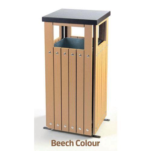 Rubbish Bins METAL WITH PLASTIC WOOD  EFFECT FINISH 36 LITRE OUT DOOR BIN