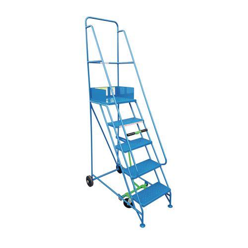 Narrow Aisle 7 Tread Mobile Step Double Handrail Metal