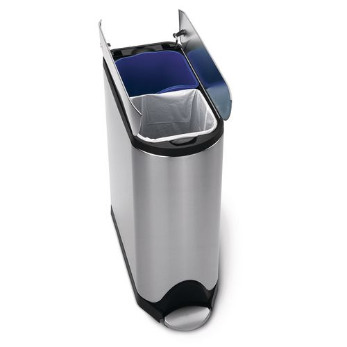 Rubbish Bins SIMPLEHUMAN BUTTERFLY RECYCLER  PEDAL BIN 40 LITRE (20/20), FPP BRUSHED STEEL