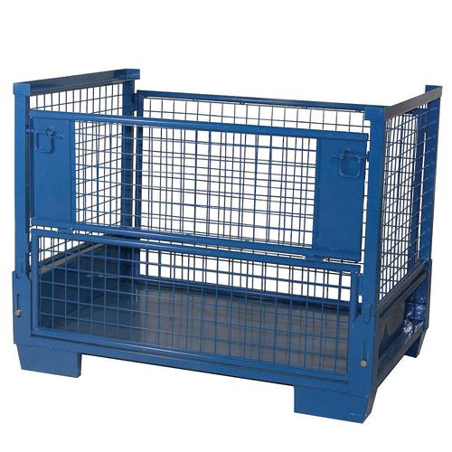 Containers HEAVY DUTY COLLAPSIBLE CAGE PALLET WITH HALF-DROP GATE.  REMOVABLE GATES. SHEET STEEL BASE. BLUE EPO