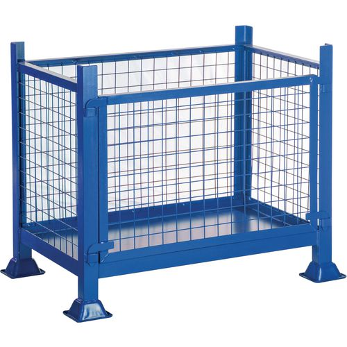 Steel box pallet with detachable panel, 500kg capacity