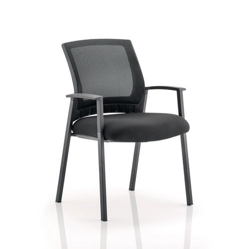 Desk Chairs METRO VISITOR CHAIR BLACK FABRIC BLACK MESH BACK WITH ARMS