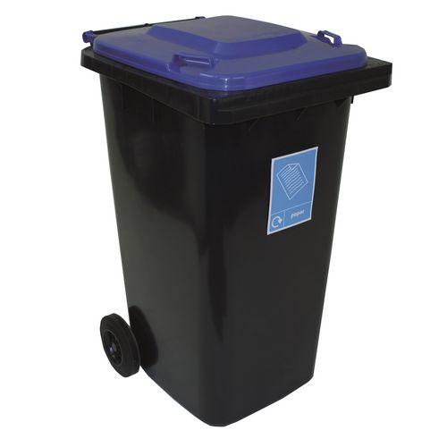Rubbish Bins 240l WHEELIE BINS  WITH COLOURED LIDS PACK OF 4