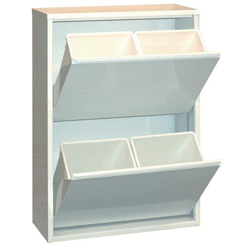 Steel cupboard with tilting drawers - 4 bins
