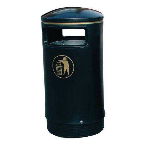 Outdoor hooded top Victorian style bin with stainless steel stubber plate
