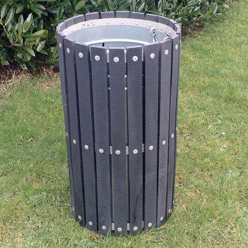 Open top wood effect litter bin