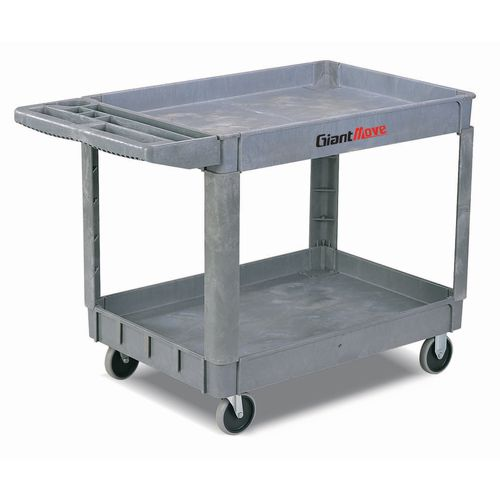 Heavy duty two tray plastic trolley