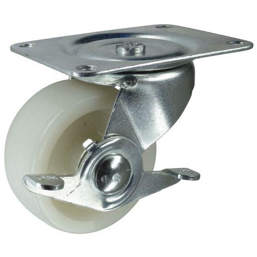 Nylon wheel, plate fixing - swivel with brake