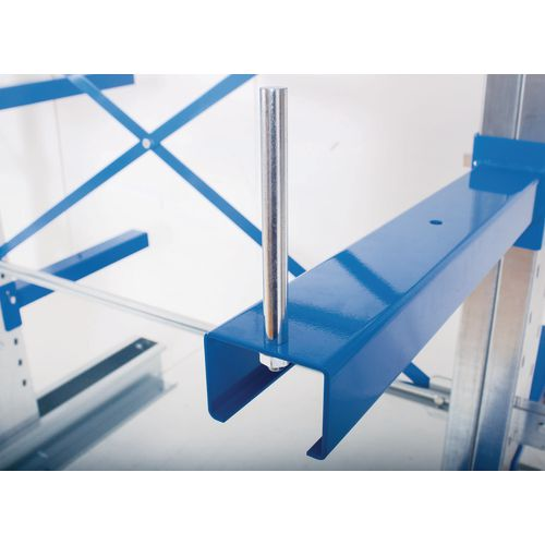 Cantilever racking arm stop