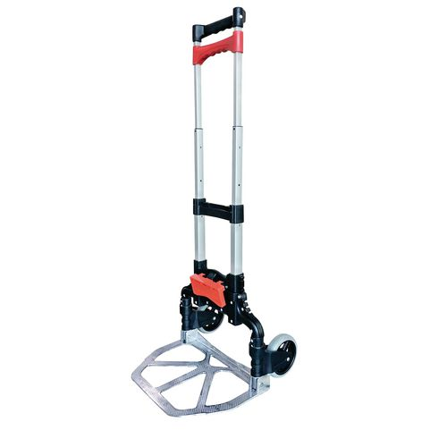 Compact folding sack truck with container clip