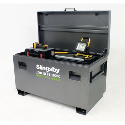 Job-site lockable tool storage boxes