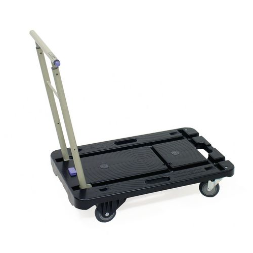 Silentmaster plastic platform truck with telescopic folding handle