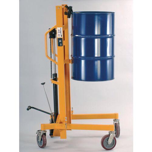 High lift hydraulic drum trolley with adjustable legs
