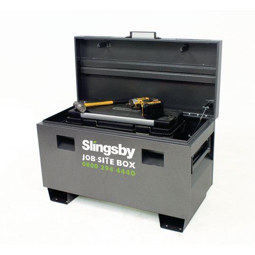 Job-site lockable tool storage boxes