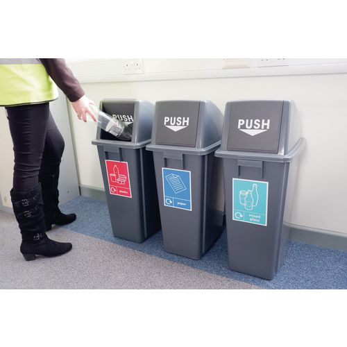 Slim recycling bins - set of 3