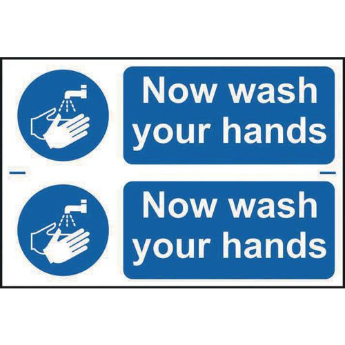 Now wash your hands sign (2 signs per sheet)