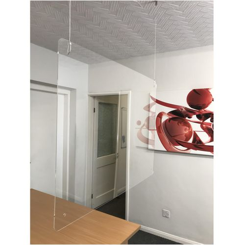 Hanging perspex protection screen