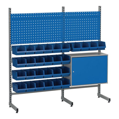 Bin rack with perforated panels nd cabinet