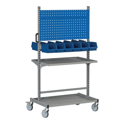 Bin trolley with perforated panel and shelf