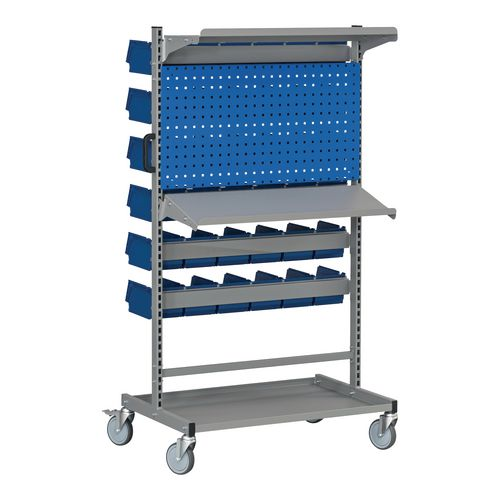 Bin trolley with perforated panels and shelves