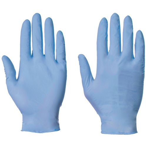 Blue nitrile powder free examination gloves