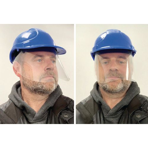 Face shield to attach to hard hat