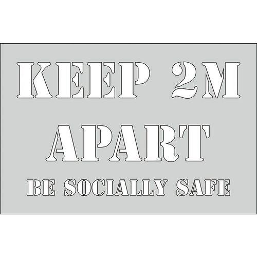 Social distancing stencil ` keep 2 meters`
