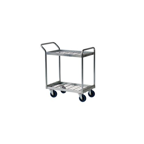 Order picking trolley with mesh shelves