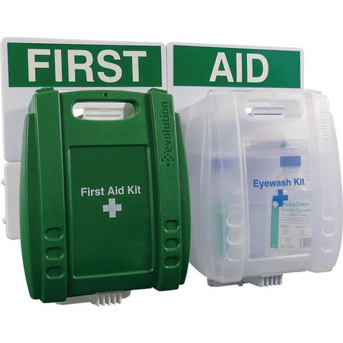 BS8599-1:2019  First aid and eye wash kit station - small