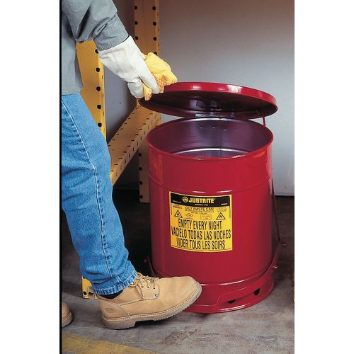 Justrite metal oily material waste cans