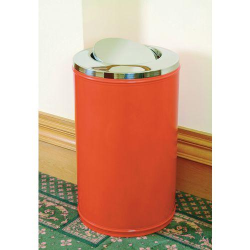 High capacity self-closing swing lid litter bin