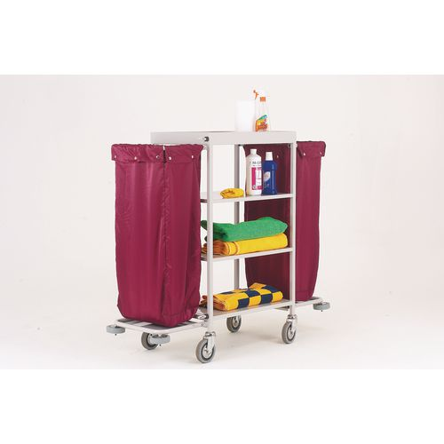 Maid service trolleys with deatchable nylon bags