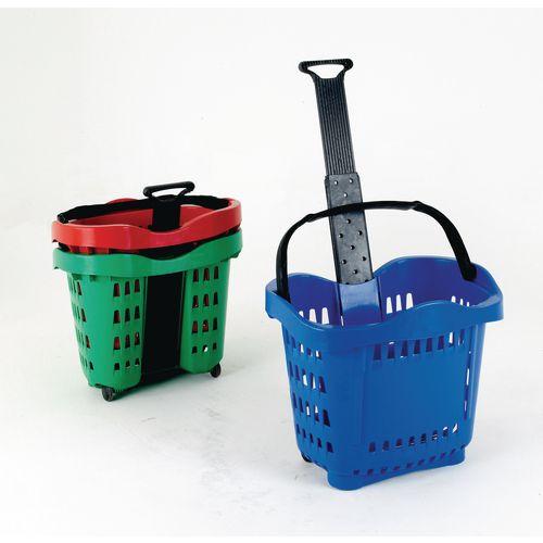 Giant plastic wheeled shopping basket