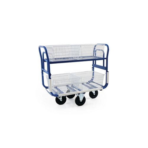 Large mail distribution trolley with long baskets